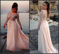 Sexy Nude See Through Prom Evening Gown 2014 Sheer Illusion Beaded Chiffon Long Sleeve Evening Dresses 2015