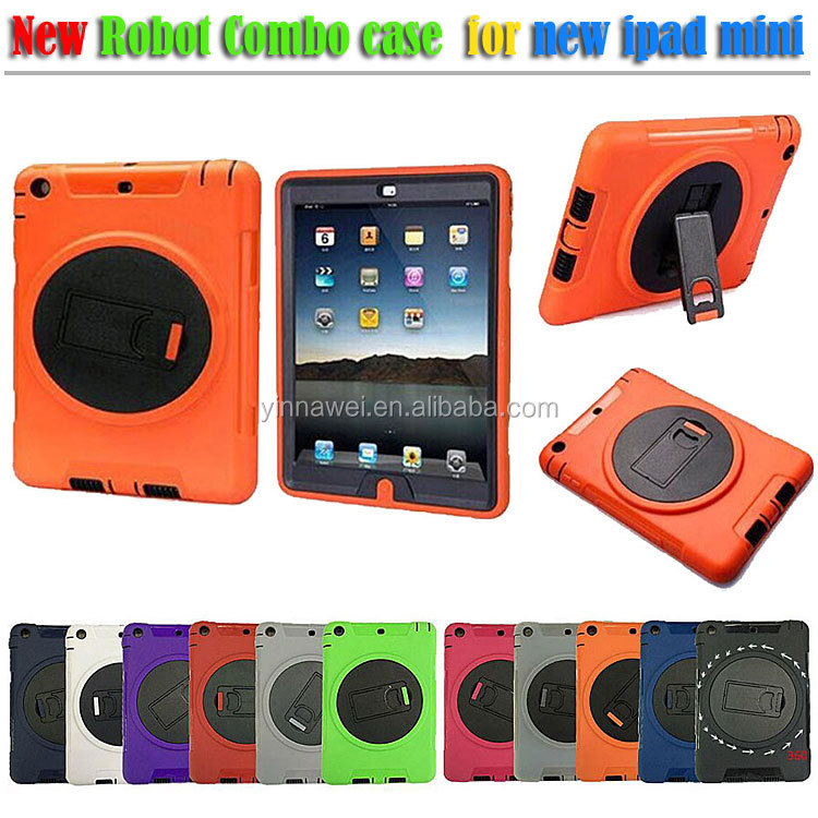 360 rotate kickstand rotation silicone combo case for iPad mini 2