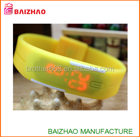 2015 whosale waterproof new design hot Touch Digital Jelly Silicone Bracelet LED Sports Wrist Watch Women Men led Watch