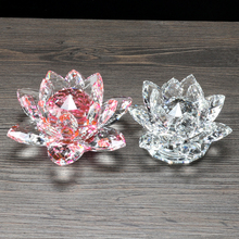 wholesale pretty glass crystal lotus flower candle holder decoration
