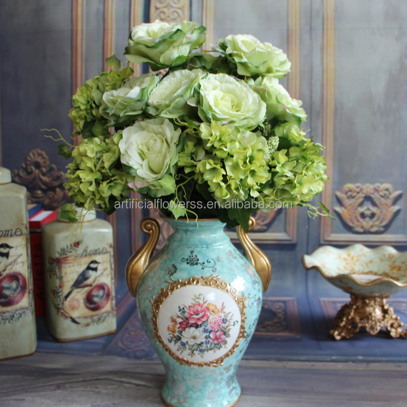 artificial vintage decor Italy silk rose wedding flowers 9 heads