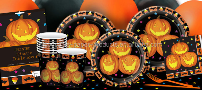 Halloween Party Supplies Halloween Tableware Disposable Paper Pumpkin Paper Plates Cups Napkins and Plastic Table Cover
