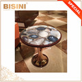 Elegant Precious Natural Gemstone Top Living Room Round Table with Brass Pedestal and Wood Veneer Rim