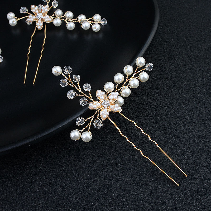 Handmade Hairpieces Acrylic Crystal Pearl Bridal Hair Pin Birthday Party Gift Women Hair Clip Girls Hair Sticks Jewelry