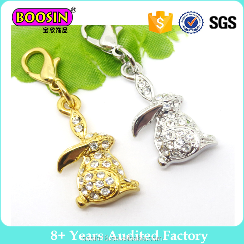 Wholesale fashion design crystal gold and silver rabbit pendant
