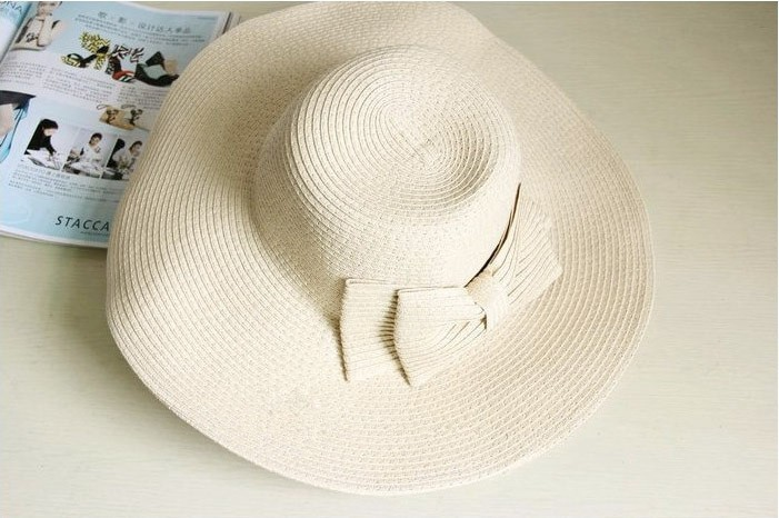 Lady Bowknot Beach Sun Visor Foldable Wide Brim Straw Hat