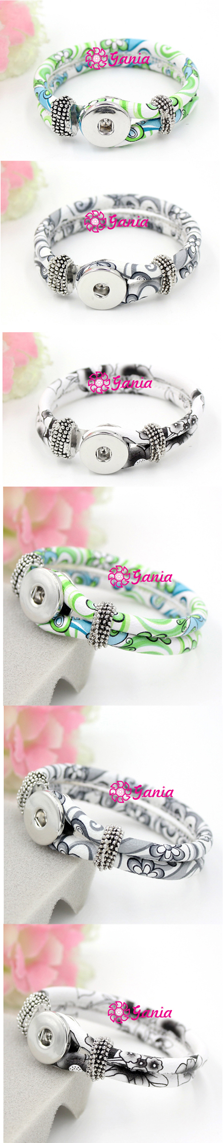 Fashion Interchangeable Flower Printed Leather Wrap Wrist Snap Leather Bracelet for DIY Button Jewelry