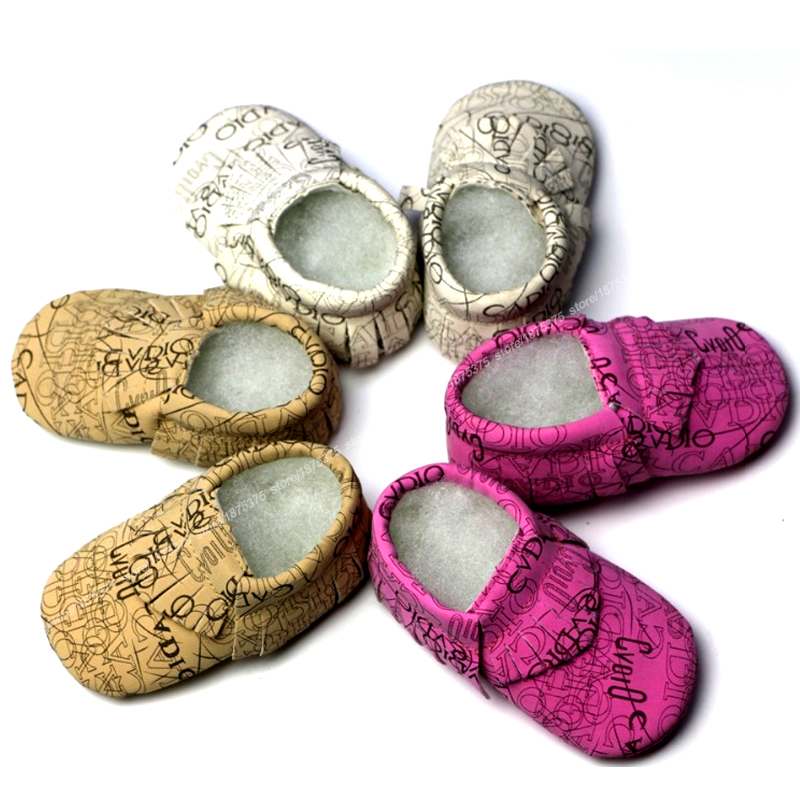 Soft Bottom Tassles First Walker PU Letter Shoes Girls Print Infant Baby Shoes Tassle Toddler Shoes Print PU Letter Girls Shoes