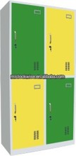 Four doors steel locker in green and yellow office furniture