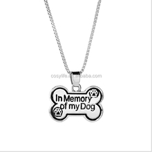 Dog Tag Necklace In Memory Of My Dog Necklaces Pendants Bones Shape Dog Paw Print Supply Long Necklace women Box Chain Footprint