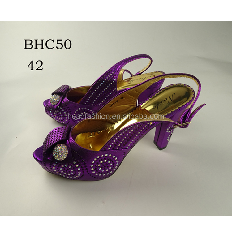 BHC50 Queency High Heel Genuine Leather Dress Shoe Nigeria Party Crystal Evening Shoes