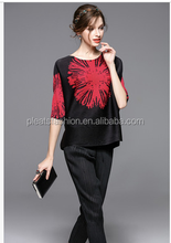 Fashion blouse printing flower short style issey miyake blouse for office ladies