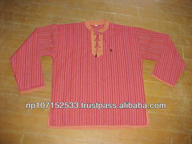 SHMS13 cotton shirt with neck tie with draw string and plane cotton pipin border