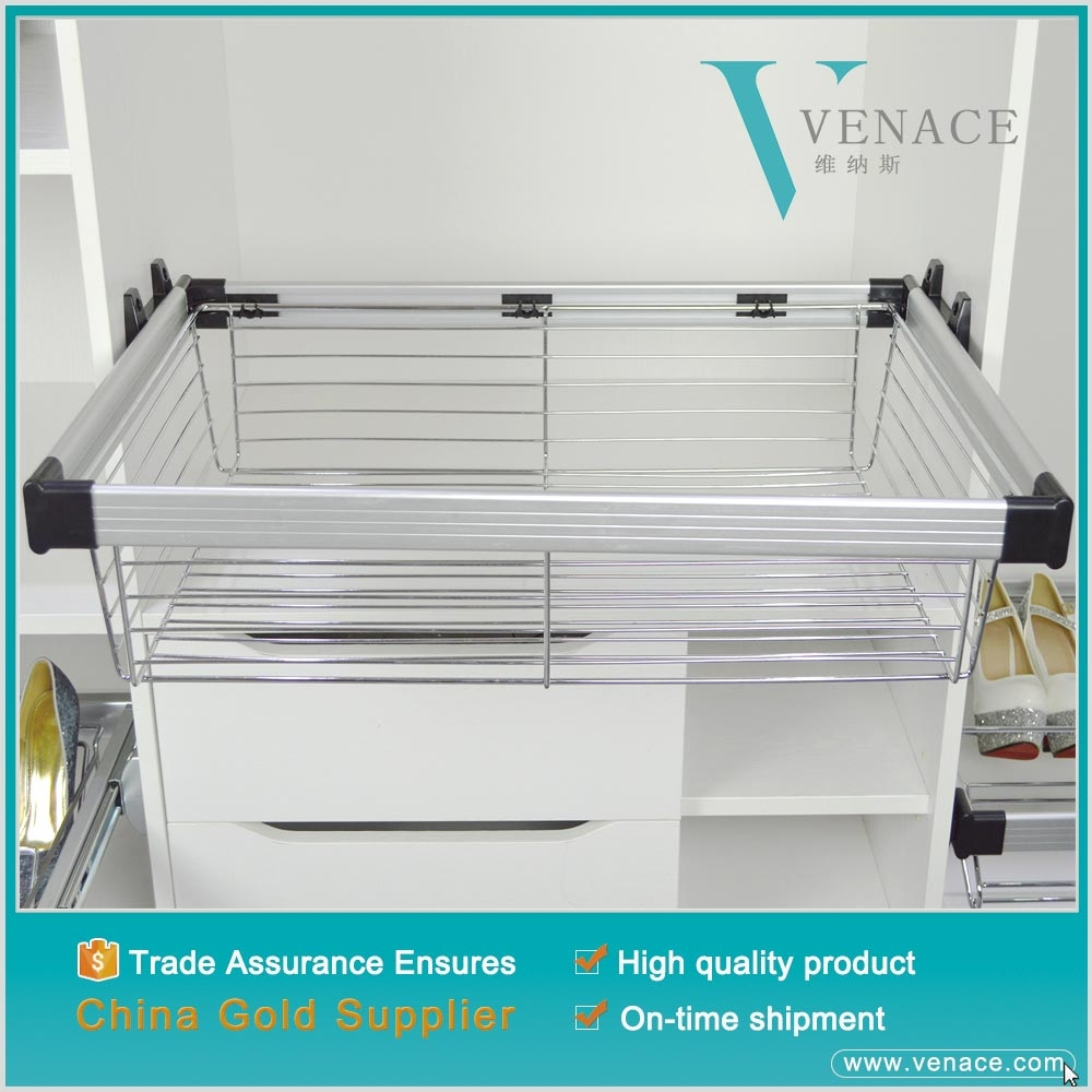 Pull Out Wire Basket Drawer iron plated tube metal wire basket Wardrobe Fitting Accessories