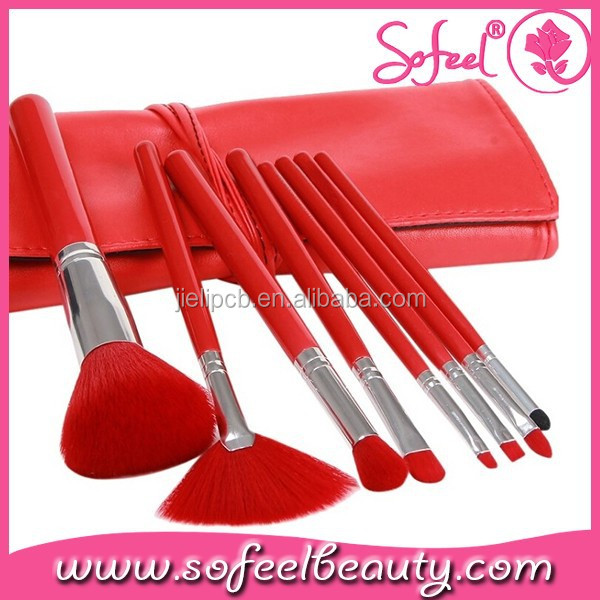 Cosmetic Brush Belt/Case /Bag with 8 Pieces China Red Cosmetic Brushes