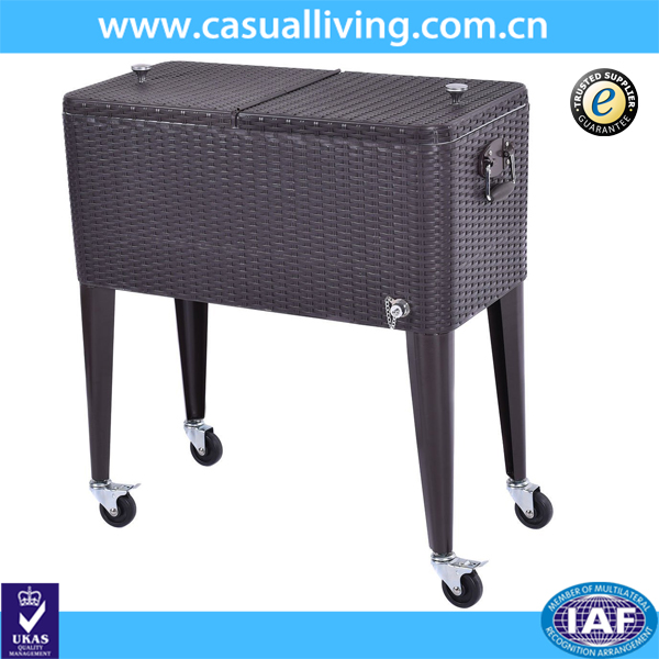 Outdoor Portable Rattan Rolling Cooler