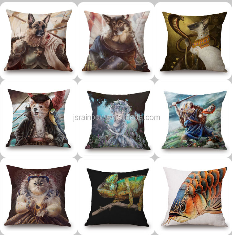 High quality 3d digital print animal cotton linen cushion cover wholesale