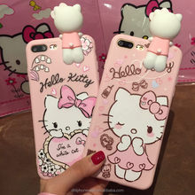 3d cute soft pink color hello kitty animals girl silicone phone case for LG K8, for iphone 6 7 8 X, for Samsung galaxy S8 note7