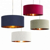 Modern Cheap Color Linen Hardback Round Base Cylindrical Plastic PVC Pendant Lamp Shade
