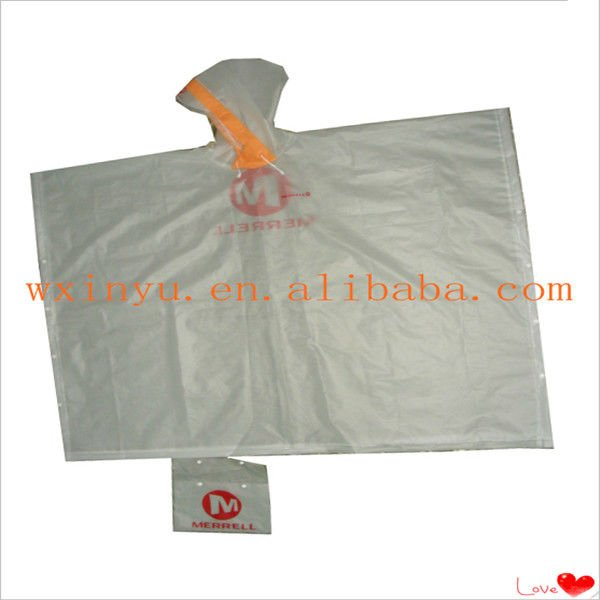 E-E37 Transparent waterproof EVA rain poncho for adult