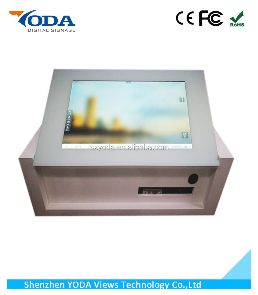 Luxury liftable LCD Windows OS restaurant touch table with intergrated monitor