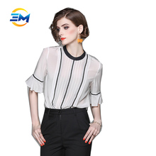 Custom short flare sleeve stand collar pleated light transparent silk casual woman blouse