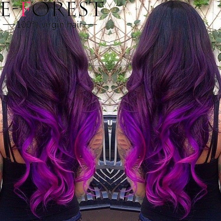 Purple Ombre Wig Full Lace Ombre Human Hair Wigs For Black Women Ombre ...