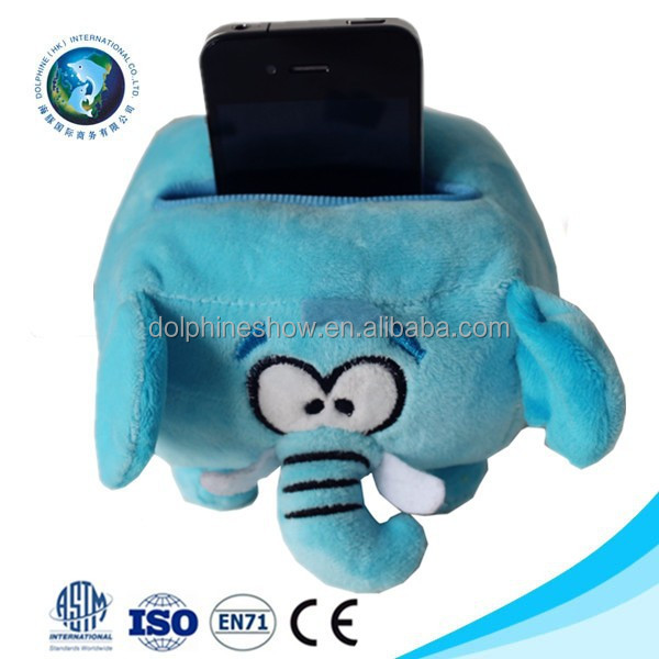 Wholesale cute kids toy stuffed soft blue elephant toy plush mobile phone holder
