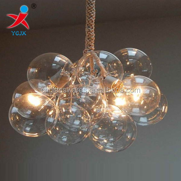 hand made hanging clear glass ball lamp for lighting blown glass