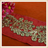 Wholesale new style gold thread sequin flower embroidered red ribbon trim for garment decoration