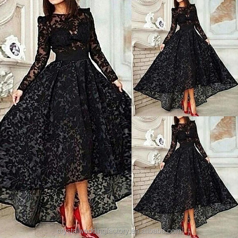 Free shipping evening <strong>dresses</strong> formal <strong>dress</strong> asymmetrical high-low vestidos de festa black lace long sleeve prom <strong>dresses</strong> CWFp2233