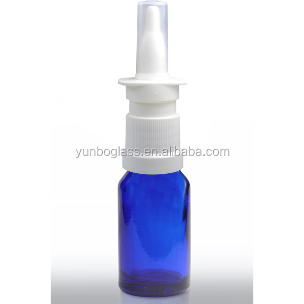 10ml Empty Blue Glass Bottles Spray Pump Glass Nasal Bottle