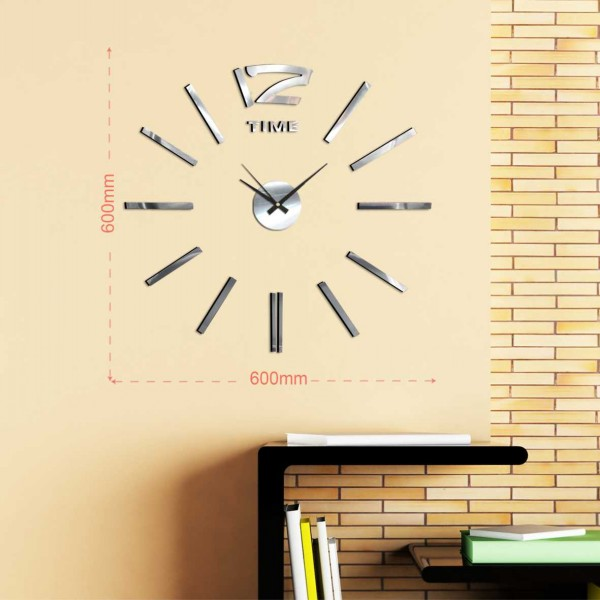 Home Decorations Modern DIY 3D Frameless Large Silver Wall Clock
