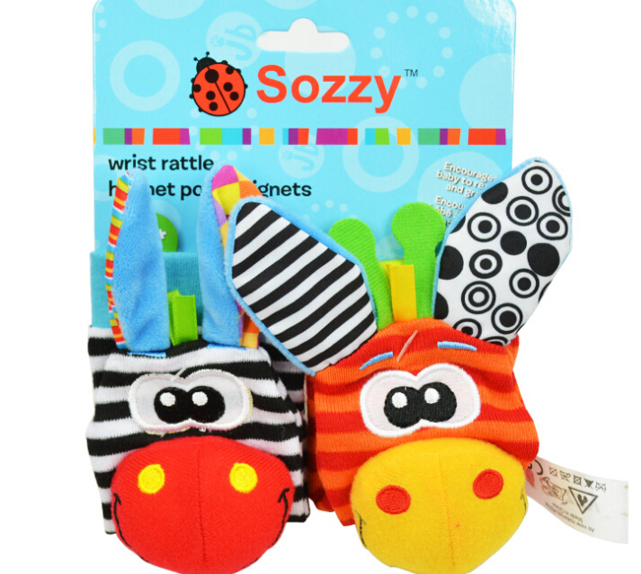 Sozzy plush toy, nursery toy, sozzy foot finder with paper card package