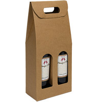 Custom 2 bottle brown paper wine bag box paper gift bags suppliers/factory