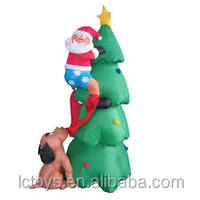 180cm Dog Chasing Santa up Christmas Tree Inflatable with Lights