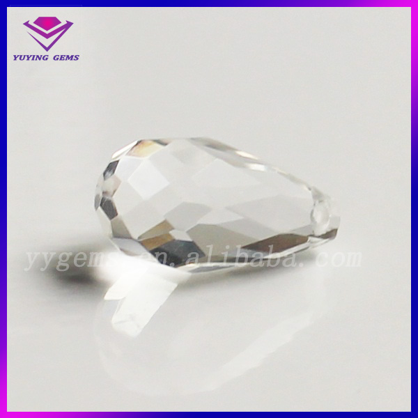 Transparent Half Drill Machine Cut Faceted Water Drop Glass Stone White Glass Jewelry Beads