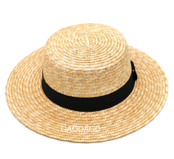 Ribbon Parent-child Wheat-straw Summer Kids Straw Hat with flat top different brim