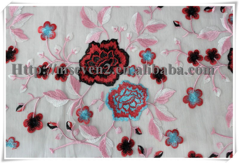 Wholesale indian colorful Floral chiffon guipure embroidery lace fabric for summer garment