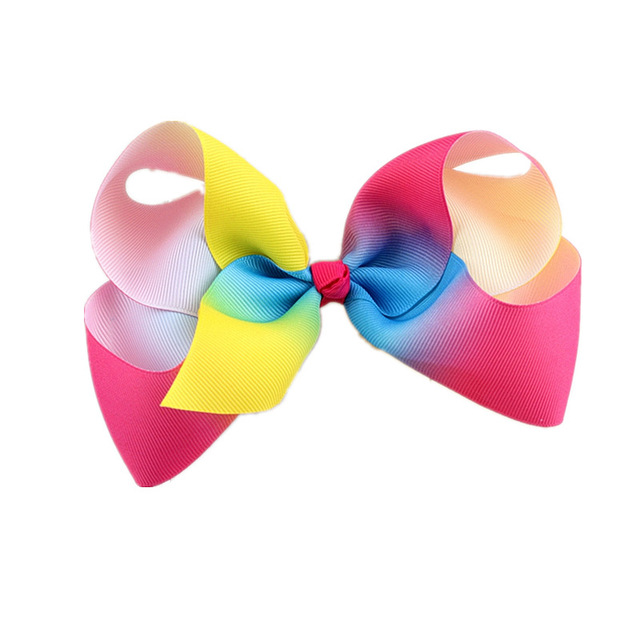 Children Girls Clip Rainbow Colorful Big Bow Hair Accessories