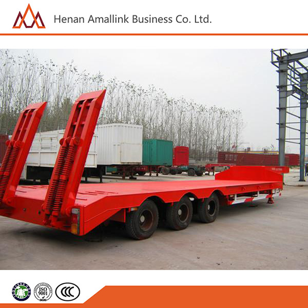 3 Axles HONGDA High quality 50 ton low flat bed semi trailer sale