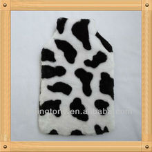 Luxury cows rubber hot water bottle cover with plush