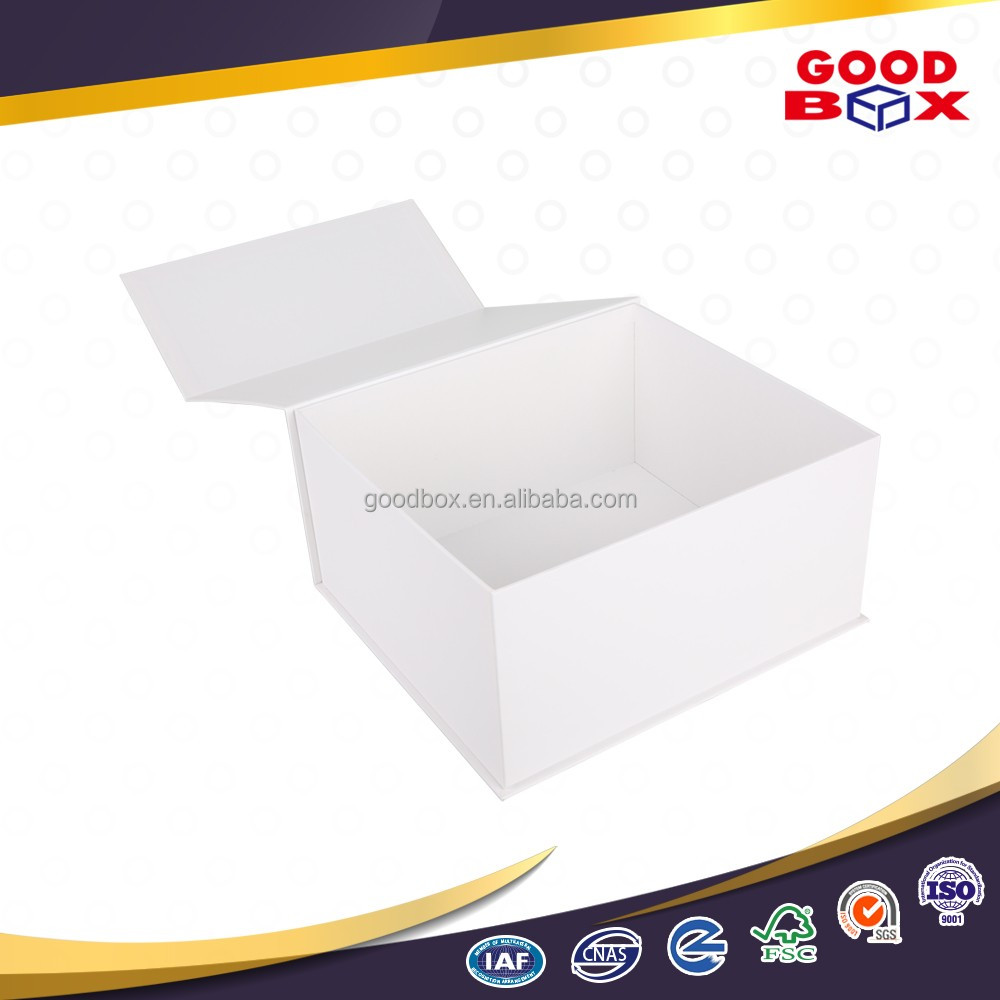 Premium wedding dress white cardboard packaging box with magnetic closure