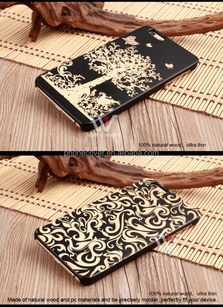 High Quality Standard Custom Laser Engraving Hard Blank Wood+PC Phone Case for iPhone 5,for iPhone 6,for iPhone 6plus