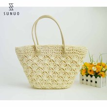 White Flower Crochet paper Straw Beach tote Bag With Zipper