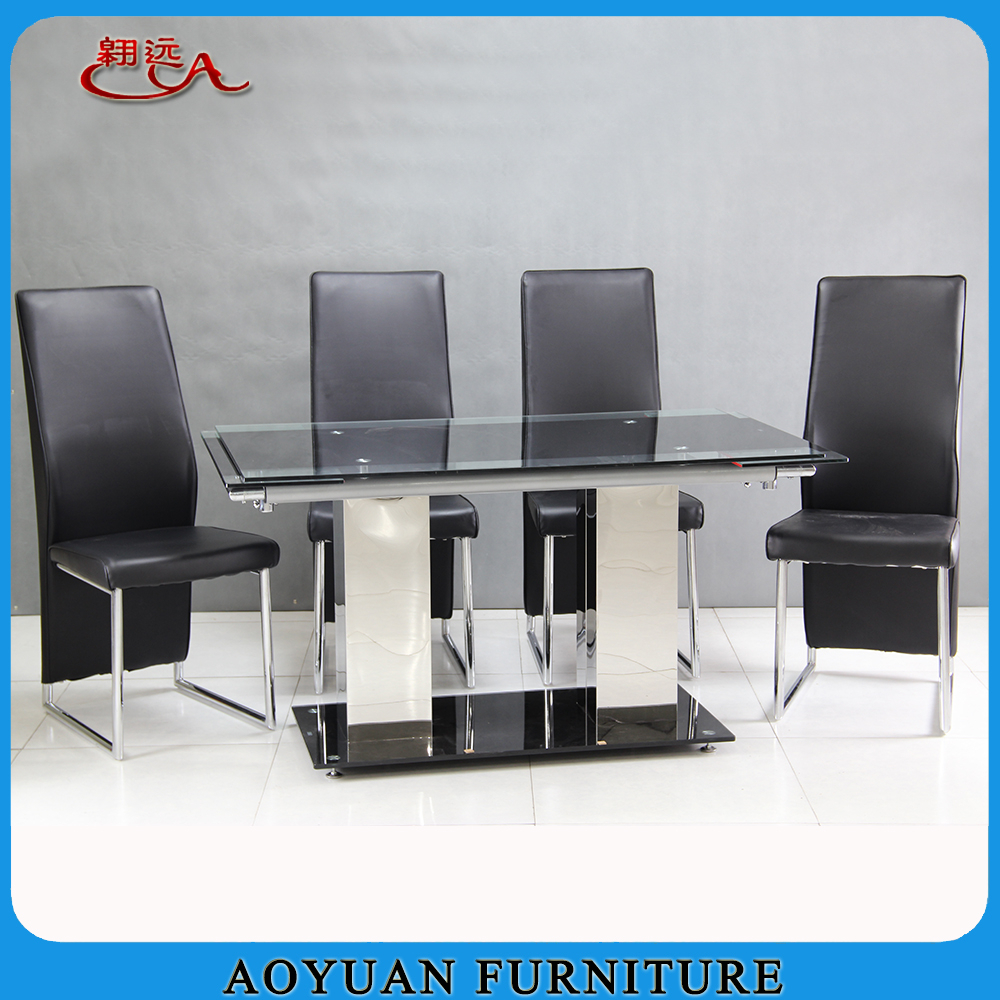 Extendable tempered glass top dining table stainless steel for Tempered glass dining table