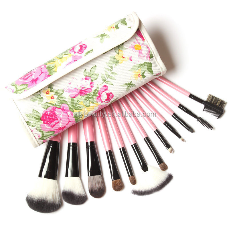 12pcs Hot selling goat hair makeup brushes with pink handle make up brush high quality