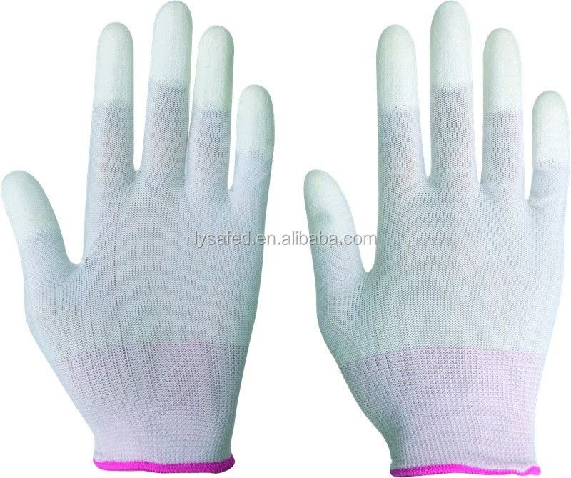 13G Nylon PU Dipped Finger Gloves