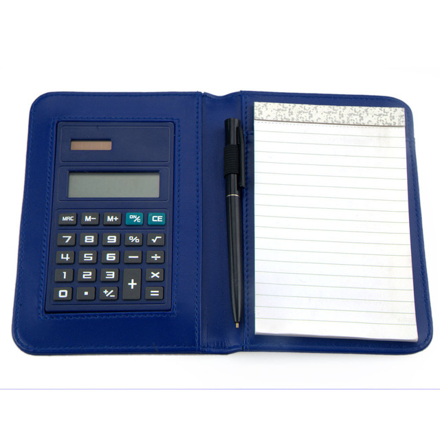 Notebook with Calculator and Pen Inside, Leather Notepad