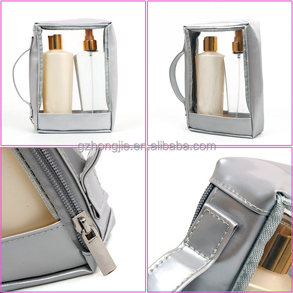 China goods wholesale grey makeup bag with zipper portable transparent cosmetic bag for young lady